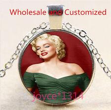 Marilyn Monroe Cabochon Tibetan silver Glass Chain Pendant Necklace #4884