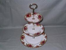 Royal Albert Old Country Roses China 3-Tier Hostess Cake Stand (Saucer on Top)