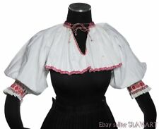 SLOVAK FOLK COSTUME embroidered blouse short crop top Hrusov ethnic peasant cute