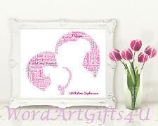 Personalised  Mum and Daughter Heart Word Art - Mothers Day  Birthday