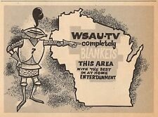 1959 WSAU WISCONSIN TV AD~MAP~COMPLETELY BLANKETS THIS AREA~BEST ENTERTAINMENT