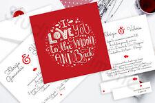 Partecipazioni Nozze Wedding Inviti Matrimonio Cuore Rosso Frasi Quadrata