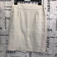 J. Crew Womens 4 Pencil Skirt Off White 100% Cotton Zipper Back Casual Career