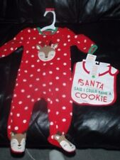 Carters Just One You Christmas Baby Girl Reindeer Sleeper Outfit 6 MNTH & BIB