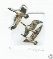drypoint of THREE WILD GEESE FLYING etching art print