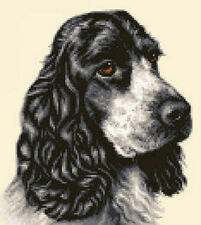 BLACK & WHITE COCKER SPANIEL dog complete counted cross stitch kit