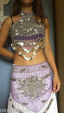 SET TOP + CINTURA DANZA DEL VENTRE lilla vio belly dance costume danza orientale