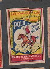 Ancienne   étiquette Allumettes  Rangoon  BN2540 Polo Cheval
