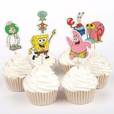24pcs Cupcake Toppers Sponge Bob Patrick Cake Decoration Kids Birthday Party
