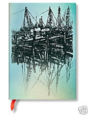 Paperblanks Lined Writing Journal Silver Aqua Black Boats Reflections Midi 5x7