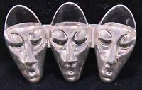Vintage Pin Brooch Sterling Signed Silver Tribal Character Figures Black  Bin8