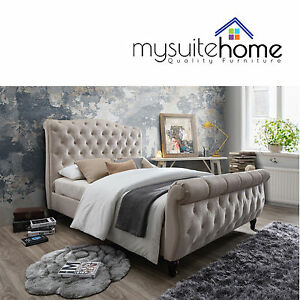 Jasmine Chesterfield Design Fabric Double/Queen/King Size Bed Frame