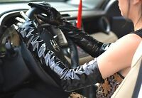 """60cm(23.6"""") long real patent leather shiny opera evening long gloves black"""