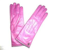 COACH Women's Cashmere Lined Leather Gloves PINK new rose size 7 NWT NEW 82821