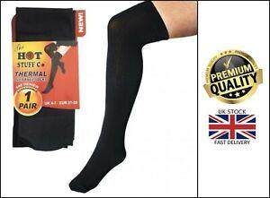 New Women's Hot Stuff Thermal Heatguard, Over The Knee 140 Denier Black Socks