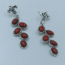 925 Sterling Silver Genuine Red Mediterranean Coral Vine Dangle Earrings
