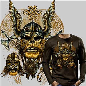 Medioevo Vichingo Odin Gotico Martello Thor Warrior T-Shirt 4205 Ls Br