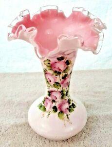"Vintage FENTON Glass Pink Floral Ruffled Vase 8"" x 5"" Unusual Leaning Tilted"