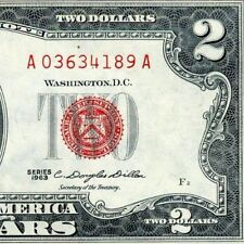 1963 $2 US Note *** Red Seal *** # A03634189A Appears Uncirculated