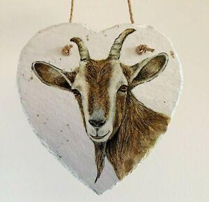 Goat, farm, smallholding, hanging heart slate gift, home decor animals.