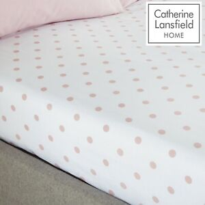 Catherine Lansfield Polka Dotty Spot Fitted Sheet White With Pink Spots