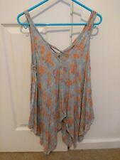 MISS SELFRIDGE Blue Orange Floral Flowers Print Handkerchief Summer Top Size 6