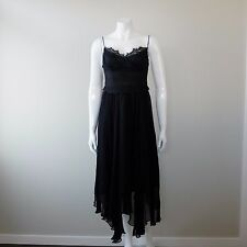 EILEEN KIRBY Black Lace Silk Formal Ball Evening Gown Midi Dress Size 10 PX08