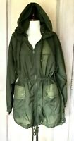 Free People Movement Coat 2 in 1 Anorak Winbreaker Zip Out Lining Green XS NEW