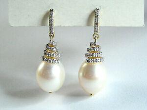14k Yellow Gold Stud Earrings w/10 x 12 mm pearls & 12 Diamonds ea.- wt. 5.39 gm