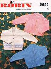 Vintage Baby Cardigan Knitting Pattern, 18/20/22 inch, 4 ply, three designs