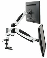 VIVO White Dual Monitor Counterbalance Height Adjustable Arm Desk Mount Stand