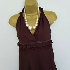 South Womens Chiffon Dress Size 14 Brown Layered Tiered Cocktail Wedding Party