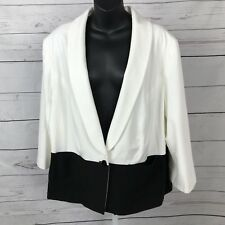 Cato Sportswear Women Sz 22W/24W Ivory/Black One Button Blazer Jacket Lined New