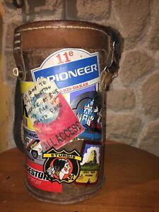 Saccoche Leder Zylinder Vintage Harley Davidson Oder Inder Aufkleber Sturgis Ect
