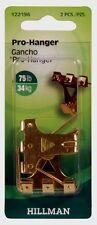 HILLMAN AnchorWire 75 lb. PRO HANGER Picture Mirror Wall Hook Brass 2 pk 122196