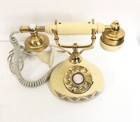 Vintage French Provincial Princess Rotary Telephone Desk Phone Ivory Brass