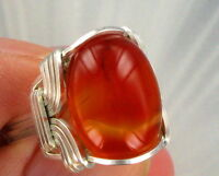 CARNELIAN  GEMSTONE RING IN .925 STERLING SILVER SIZE 5 TO 15 WIRE WRAPPED
