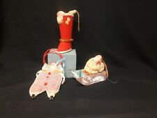 Three Vintage Christmas Candy Containers with Celluloid Santa Heads