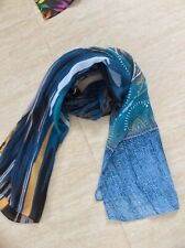 Multi Scarf - chiffon type Turquoise / black / cream / ochre / teal Green Scarf
