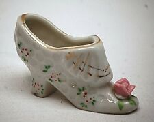 Classic Style Mini Ceramic High Heel Shoe Dimpled White Floral Design Gold Japan