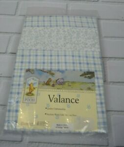 Classic Pooh NEW Winnie the Pooh Blue Green Floral Plaid Valance