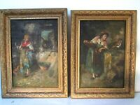ANTIQUE 19 C TWO OIL PAINTING OF  WOMAN WITH CHICKEN AND WOMAN WITH DONKEY