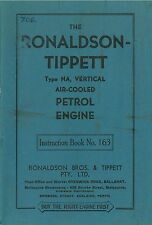 Ronaldson-Tippett Type NA Vertical Air cooled petrol engine instruction reprint