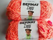 Bernat Zapp textured yarn, Life's a Peach (orange), lot of 2 (54 yds each)