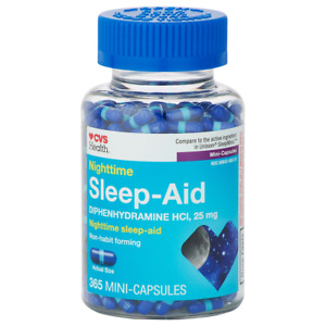 CVS Sleep Aid Capsules Nighttime Sleep Diphenhydramine HCl 25mg 365 CT