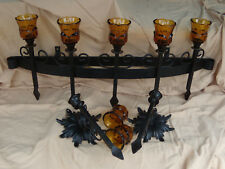 """Primitive Rare antique wrought iron candle holder & 2  wall sconces  31"""" x  10"""""""