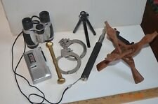 New listing Junk Drawer Lot Sony Voice Recorder Binoculars Tripod Handcuffs selfie stick +