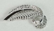 Signed Vintage Silvertone Feather Pin Brooch Gerry's