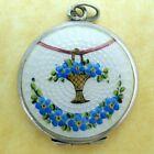 Antique German Silver Guilloche Enamel Forget Me Not Flower Locket Pendant Charm