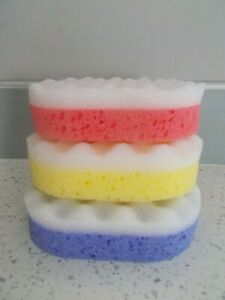 3 x MASSAGE / EXFOLIATING BATH OR SHOWER SPONGE - COLOUR CHOICE